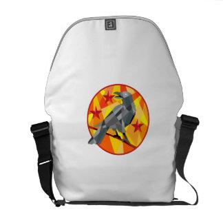 Crow Perch Stars Circle Low Polygon Messenger Bag