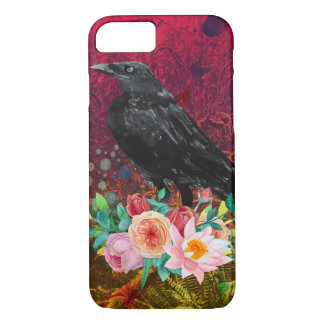 Crow Perched on Flowers iPhone 7 Case