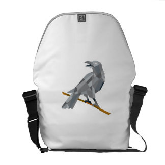 Crow Perching Looking Back Low Polygon Courier Bags