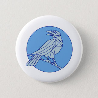 Crow Perching Looking Side Circle Mono Line 2 Inch Round Button