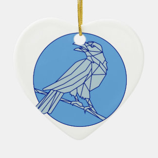 Crow Perching Looking Side Circle Mono Line Ceramic Heart Ornament
