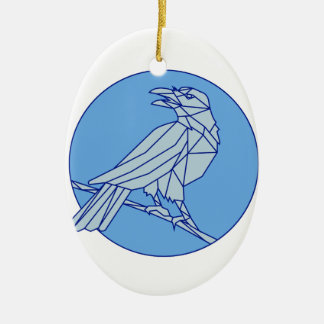 Crow Perching Looking Side Circle Mono Line Ceramic Oval Ornament