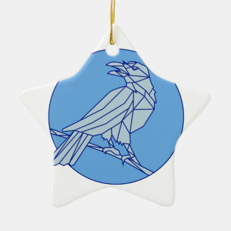 Crow Perching Looking Side Circle Mono Line Ceramic Star Ornament