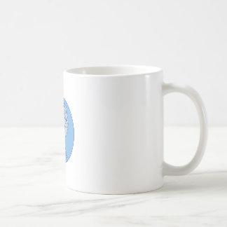 Crow Perching Looking Side Circle Mono Line Coffee Mug