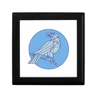 Crow Perching Looking Side Circle Mono Line Gift Box