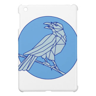 Crow Perching Looking Side Circle Mono Line iPad Mini Case
