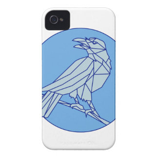 Crow Perching Looking Side Circle Mono Line iPhone 4 Case-Mate Case