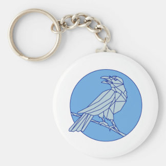 Crow Perching Looking Side Circle Mono Line Keychain