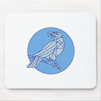 Crow Perching Looking Side Circle Mono Line Mouse Pad