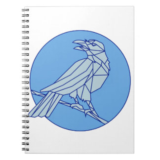 Crow Perching Looking Side Circle Mono Line Notebooks