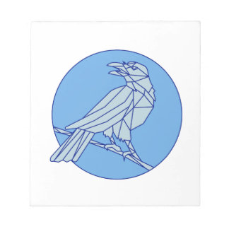 Crow Perching Looking Side Circle Mono Line Notepad