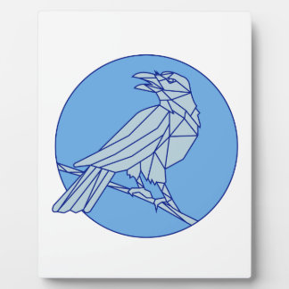 Crow Perching Looking Side Circle Mono Line Plaque