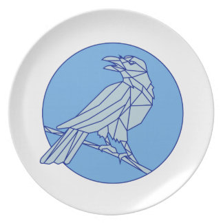 Crow Perching Looking Side Circle Mono Line Plate