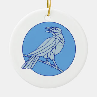 Crow Perching Looking Side Circle Mono Line Round Ceramic Ornament