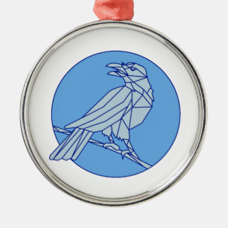Crow Perching Looking Side Circle Mono Line Silver-Colored Round Ornament