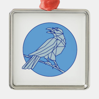 Crow Perching Looking Side Circle Mono Line Silver-Colored Square Ornament