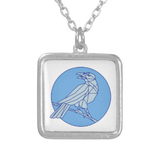 Crow Perching Looking Side Circle Mono Line Silver Plated Necklace