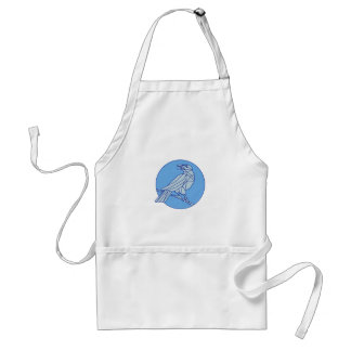 Crow Perching Looking Side Circle Mono Line Standard Apron