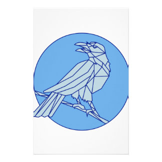 Crow Perching Looking Side Circle Mono Line Stationery