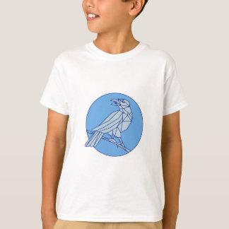 Crow Perching Looking Side Circle Mono Line T-Shirt