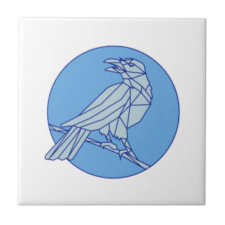 Crow Perching Looking Side Circle Mono Line Tile