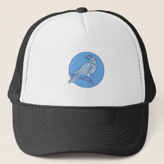 Crow Perching Looking Side Circle Mono Line Trucker Hat