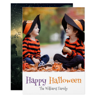 Crow Pumpkin Graveyard Happy Halloween Photo Card