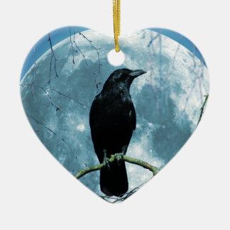 Crow Raven Moon Night Gothic Fantasy Stunning Ceramic Heart Ornament