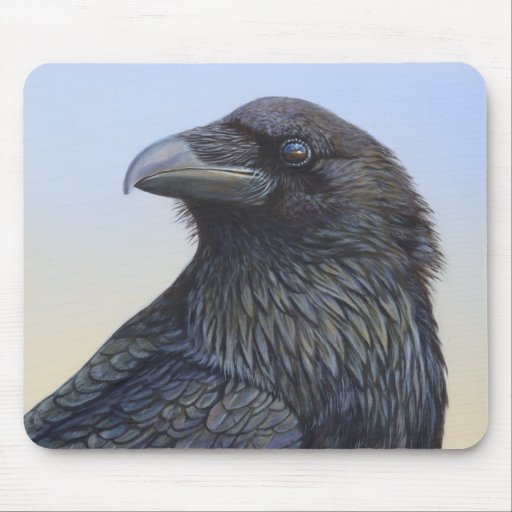 Crow Raven Sunset Painting Art Mousepads