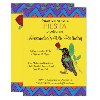 Crow & Rose Mexican Art Birthday Party Invitation