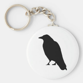 Crow Silhouette Basic Round Button Keychain
