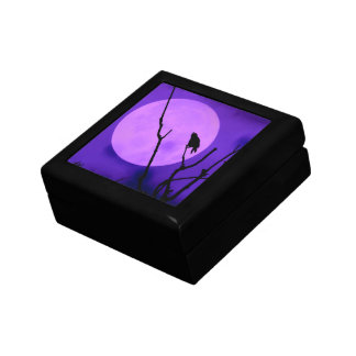 Crow Silhouette Purple Moon Gift Box