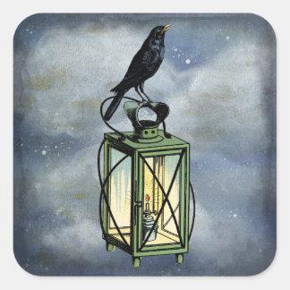 Crow Sits On Lantern Wildlife Square Sticker
