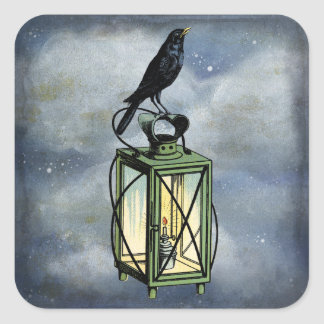 Crow Sits On Lantern Wildlife Stickers