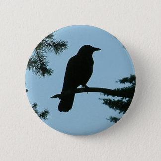 Crow Sitting in Tree 2 Inch Round Button