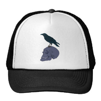 Crow Standing On A Human Skull Trucker Hat