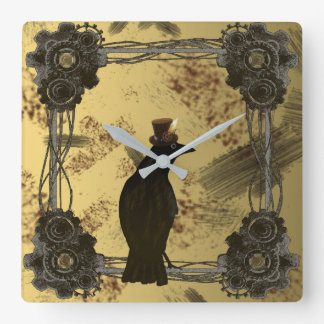 Crow Steampunk Mixed Media Art Style Clock