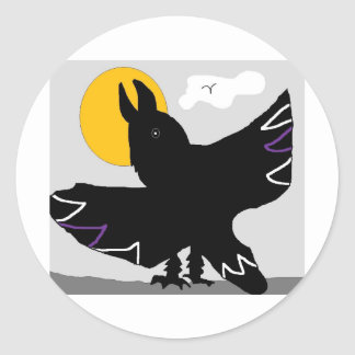 CROW SUN ROUND STICKER