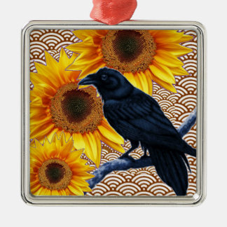 Crow Sunflowers Brown Pattern Gifts Silver-Colored Square Ornament