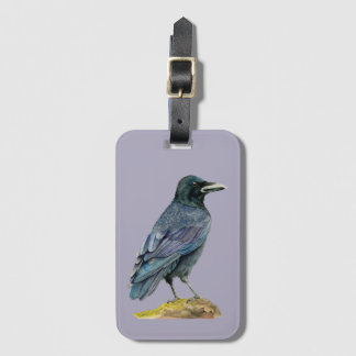 Crow Watercolor Painting Luggage Tag