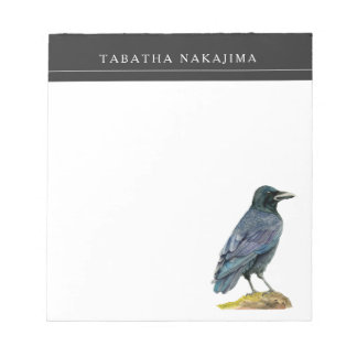 Crow Watercolor Painting Notepad