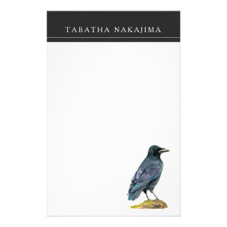 Crow Watercolor Painting Stationery