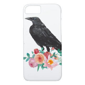 Crow with Flowers Phone Case