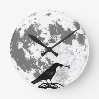 Crow with Skeleton Key Full Moon Round Clock