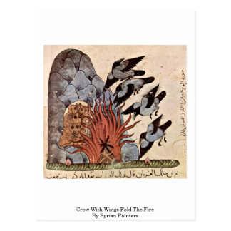 Crow With Wings Fold The Fire By Syrian Painters Postcard