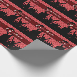 Crowd of Cheering Graduate Silhouettes on Red Wrapping Paper