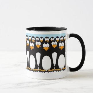Crowd of Funny Cartoon Penguins on Snow Mug