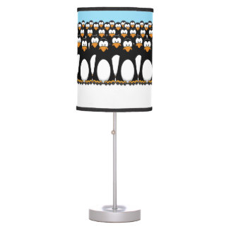 Crowd of Funny Cartoon Penguins on Snow Table Lamp