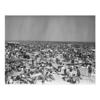 Crowd of people on beach B&W elevated view Postcard