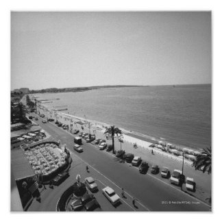 Crowd of people on beach B&W elevated view Poster